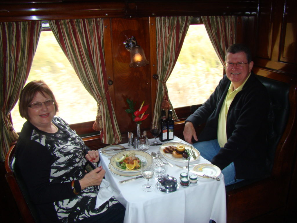 Luxury meal service on Rovos Rail.