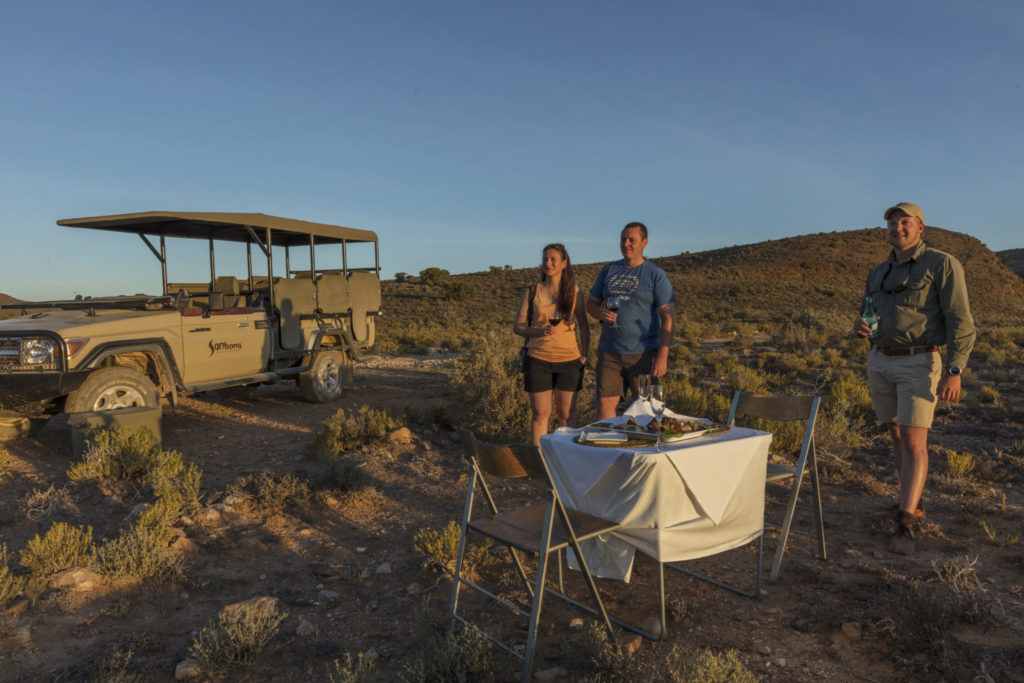 Sunset drinks at Sanbona Wildlife Reserve