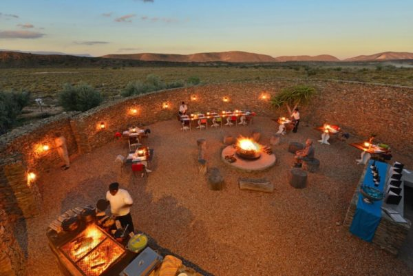 Outdoor dining in the Boma at Gondwana Family Lodge.
